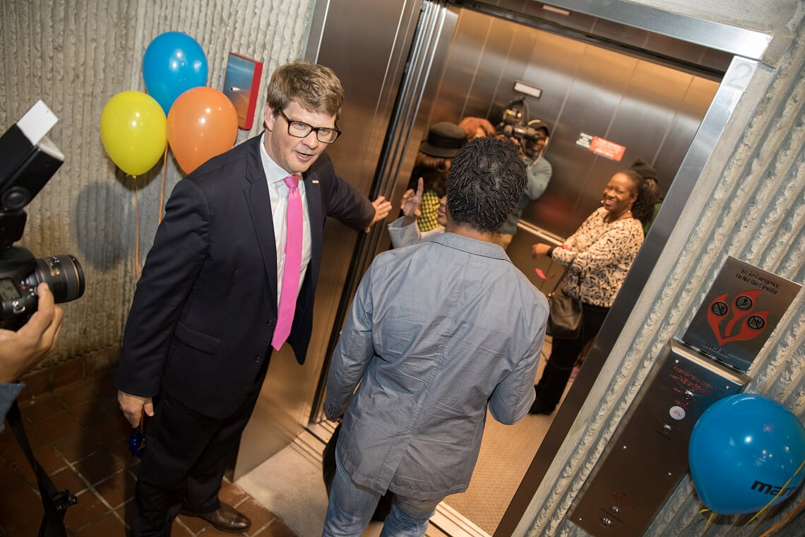 Oakland City Elevator opening with CEO Jeffrey A. Parker